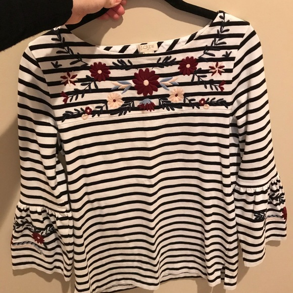 e35e323964a J. Crew Factory Tops - JCrew Factory Bell Sleeve Striped Top w Embroidery